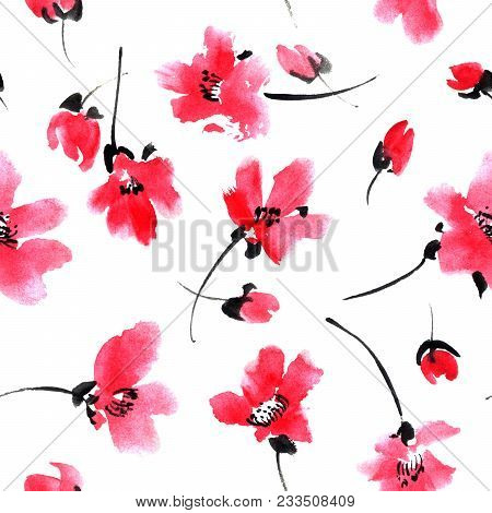 Watercolor And Ink Illustration Of Red Flowers. Sumi-e, U-sin Painting. Seamless Pattern.
