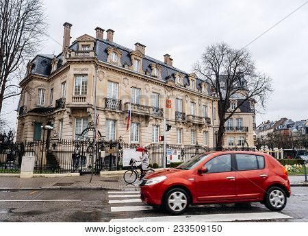 Strasbourg, France - Mar 28, 2018: Cars Driving In Front Russian Consulate Embassy Half-mast Russian