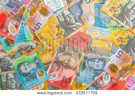 Australian Banknotes Background Of Dollars Of Australia, Aud Currency. Financial Colorful Background