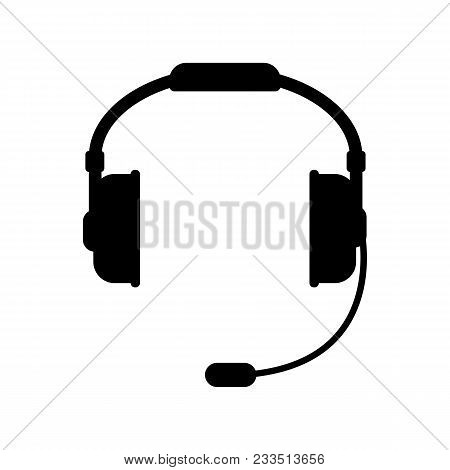Vector Headphones Icon. Black Symbol Silhouette Isolated On A White Background. Stock - Vector