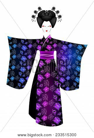 Portrait Of Japanese Or Asian Girl, Traditional Style With Japanese Kimono, Madama Butterfly Style.
