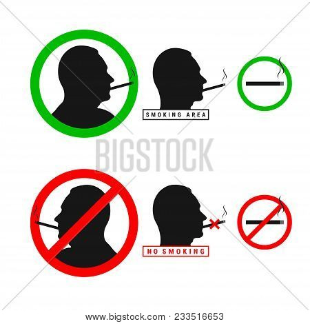Vector No Smoking Sign Set. Male Silhouette Head. Vector Smoking Area Sign Set. Smoking Allowed And