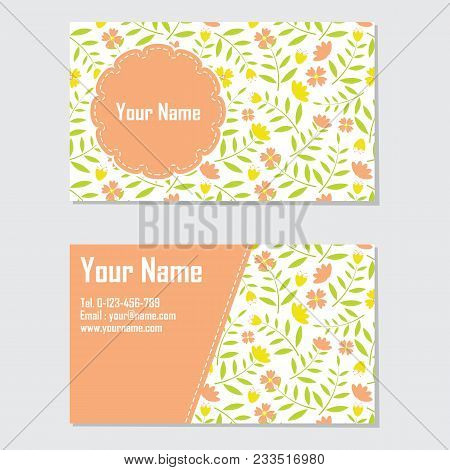 Name Card Vector Design Template With Yellow And Orange Flower For Stationery Card And Business Card