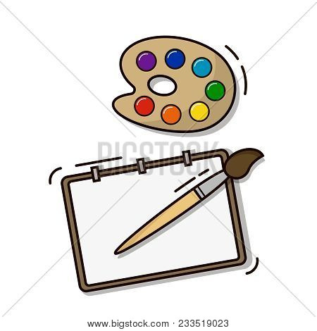 Set Of The Young Artist Paper Palette Brush, Painting Tools. Outline Flat Style