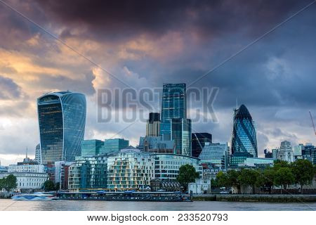 London, England - June 15, 2016: Sunset Skyline Of London From Tower Bridge, England, United Kingdom