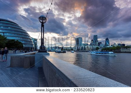London, England - June 15, 2016: Night Photo Of City Hall In London , England, United Kingdom