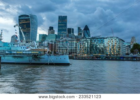 London, England - June 15, 2016:  Sunset Skyline Of London From Tower Bridge, England, United Kingdo