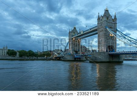London, England - June 15, 2016:  Night Photo Of Tower Bridge In London, England, Great Britain