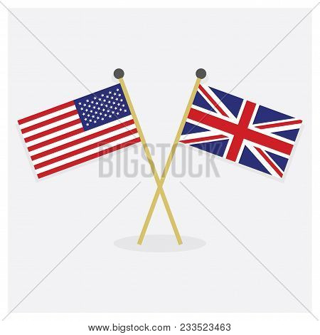Crossed United States Of America Flag And Union Jack Flag Icons With Shadow On Off White Background