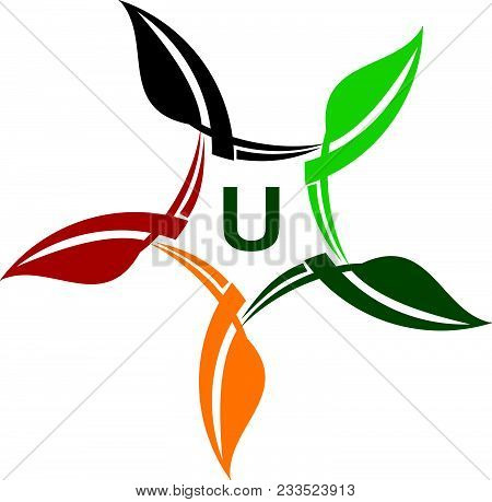 Green Project Solution Center Initial U Logo Design Template Isolated Icon