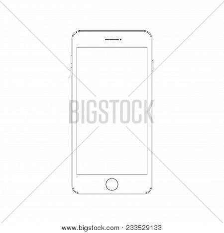 Outline Drawing Modern Smartphone. Smartphone Outline Mock Up Vector Design Template. Mobile Phone L