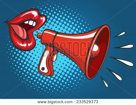 Girl Megaphone Screaming. Attractive Female Mouth With Sensual Pretty Girl Lips With Loud Hailer Ret