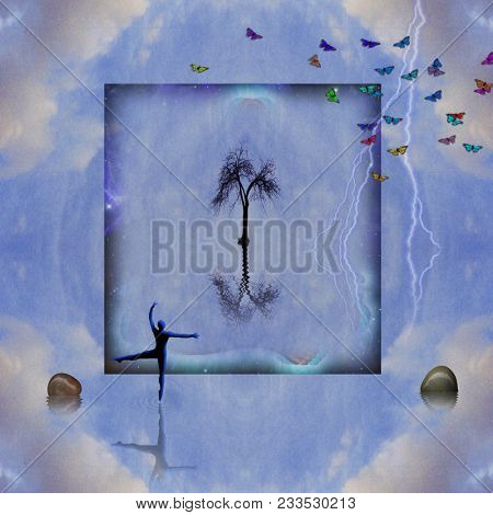 Spiritual composition. Lonely tree in square frame. Ballet dancers silhouette. Colorful butterflies. 3D rendering