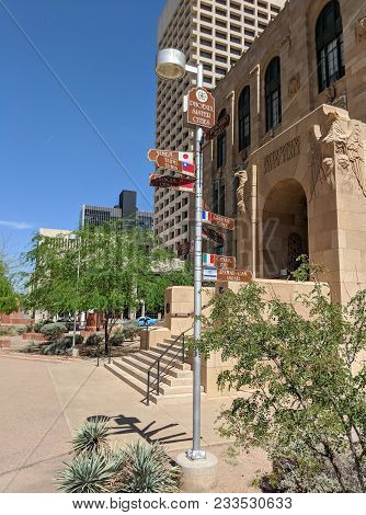 Phoenix, Az, Usa - March 28, 2018: Signs With City Name, Country And Distance To Sister Cities Of Ph