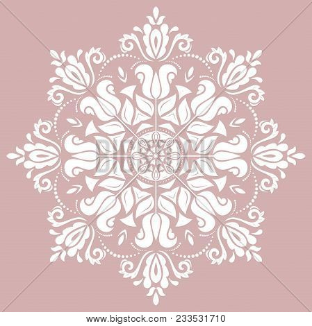 Oriental Vector Pattern With Arabesques And Floral Elements. Traditional Classic Round White Ornamen
