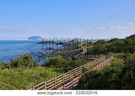 Jongdalri Coast Trail In Jeju Island, Korea. The Trail Is Famous For Beautiful Scenery. In The Walkw