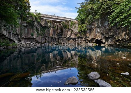Cheonjeyeon 1st Waterfall. Cheonjeyeon Is A Three-tier Waterfall, Which Is One Of The Most Famous Fa