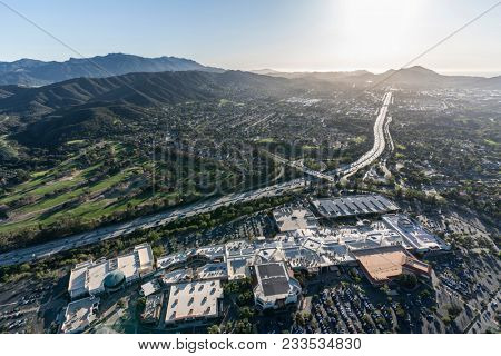 Thousand Oaks, California, USA - March 26, 2018:  Aerial view of Thousand Oaks, Newbury Park, the Oaks Mall and the Santa Monica Mountains near Los Angeles.