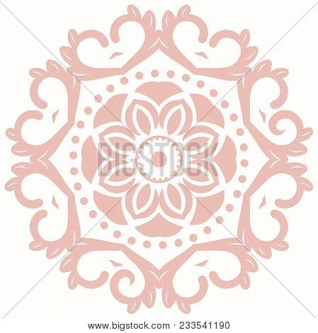 Oriental Vector Round Pink Pattern With Arabesques And Floral Elements. Traditional Classic Ornament