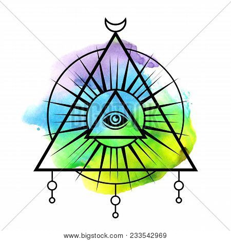 All-seeing Eye Symbol. Sacred Geometry, Third Eye. Tattoo Mystic Design. Abstract Watercolor On Whit
