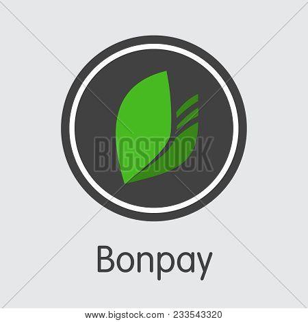 Vector Bonpay Virtual Currency Coin Pictogram. Mining, Coin, Exchange. Vector Colored Logo Of Bon.