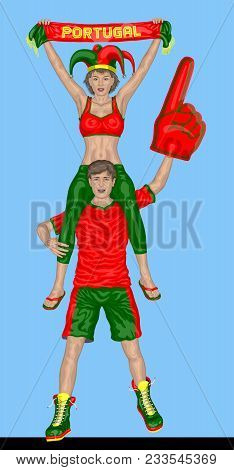 Portuguese Fans Supporting Portugal Team With Scarf And Foam Finger. All The Objects Are In Differen