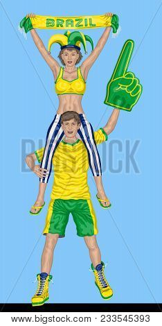 Brazilian Fans Supporting Brazil Team With Scarf And Foam Finger. All The Objects Are In Different L