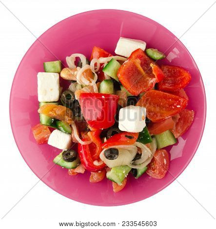 Greek Salad  Isolated On White Background . Greek Salad On A Plate Top View . Healthy Food