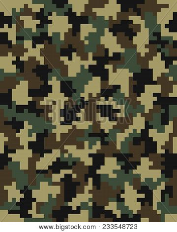 Seamless Digital Fashion Camouflage Pattern, Illustration Background