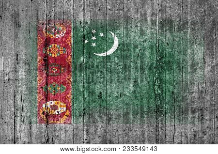 Turkmenistan Flag Painted On Background Texture Gray Concrete