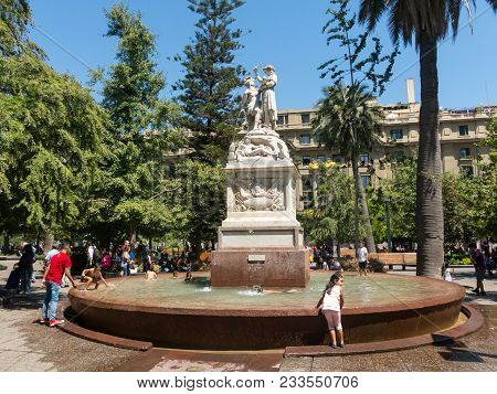 Santiago, Chile - January 26, 2018: Monument American Liberty, Marble Sculpture Located In The Cente
