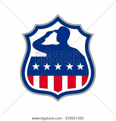 Icon Retro Style Illustration Of Silhouette Of An American Soldier Saluting Usa Stars And Stripes, S