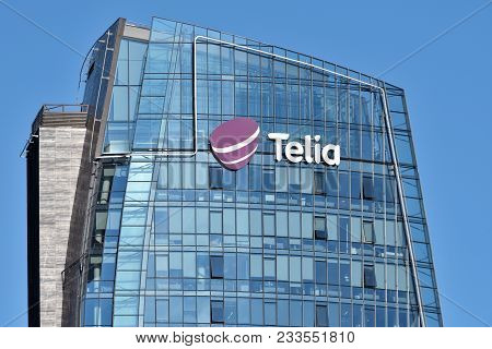 Vilnius, March 27: Telia Logo On Building On March 27 2018 In Vilnius, Lithuania. Telia Is A Swedish