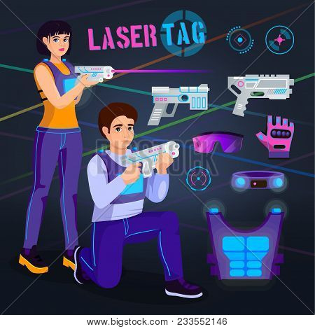 Gamer in laser tag vector player character gaming in lasertag with gun shooting in aim illustration set of people playing in gameplay with laser weapon isolated on background. poster