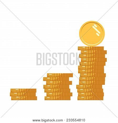 Coins Icon. Stack Of Golden Coin Like Income Graph. Stack Of Coins With Coin In Front Of It. Digital