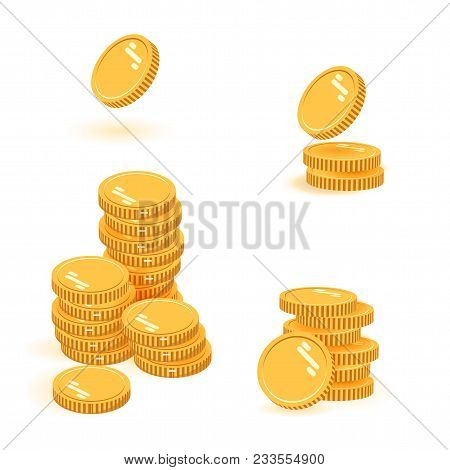 Coins Stack Set Vector Illustration, Icon Flat Finance Heap, Dollar Coin Pile. Money Flat Icon In Is