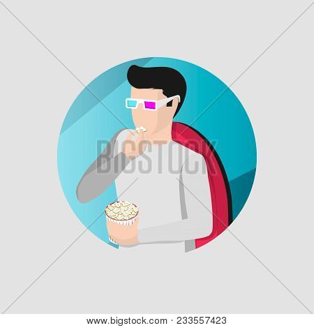 A Guy Watching A Movie In A Movie Theater, Wearing Special Glasses And Eating Popcorn