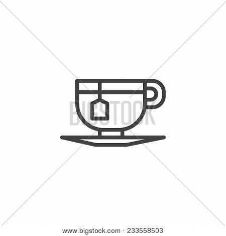 Tea Cup With Tea Bag Outline Icon. Linear Style Sign For Mobile Concept And Web Design. Cup Of Tea S