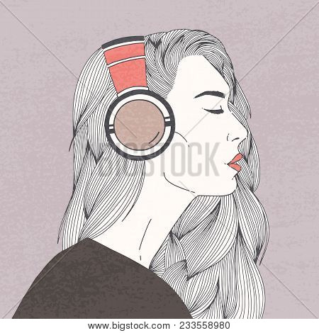 Profile Portrait Of Gorgeous Long-haired Young Woman With Closed Eyes Wearing Headphones. Beautiful