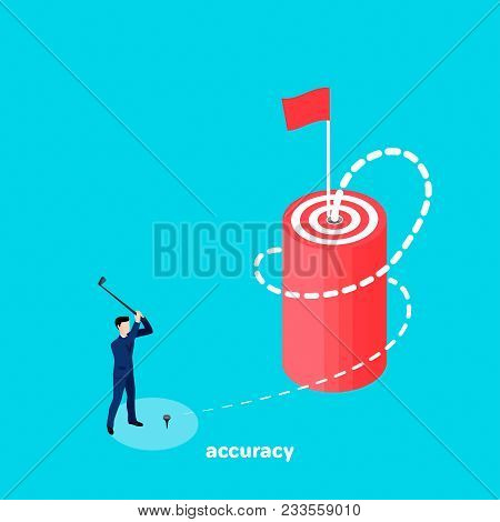 A Man In A Business Suit With A Golf Club Clogs A Twisted Ball Into The Goal, An Isometric Image