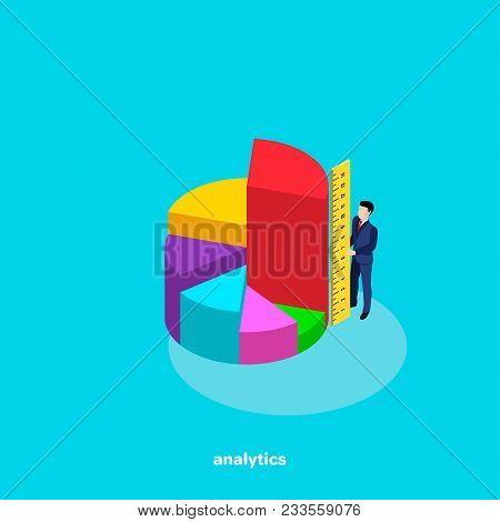 Man A In Busines  Suit Holds A Ruler, Analytical And Business Planning, Growth Chart, Isometric Imag