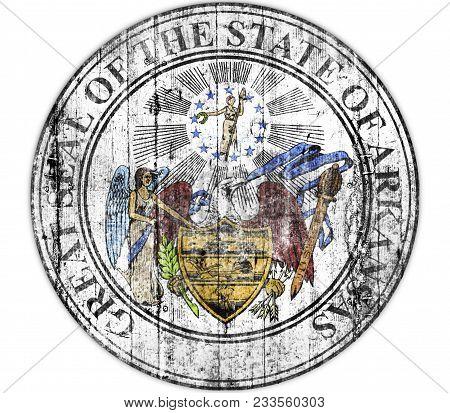 Us State Arkansas National Seal Concrete Flag