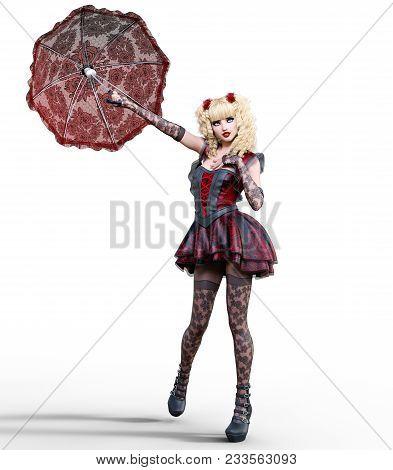 Young Beautiful Girl With Doll Face Umbrella Posing Photo Shoot.short Dark Red Dress, Stockings, Sho