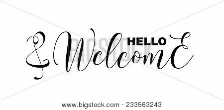 Hello And Welcome Handwritten Calligraphic Letters Isolated On White, Vector Illustration. Hello. We