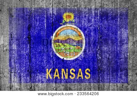 Kansas Official Us State National Concrete Flag