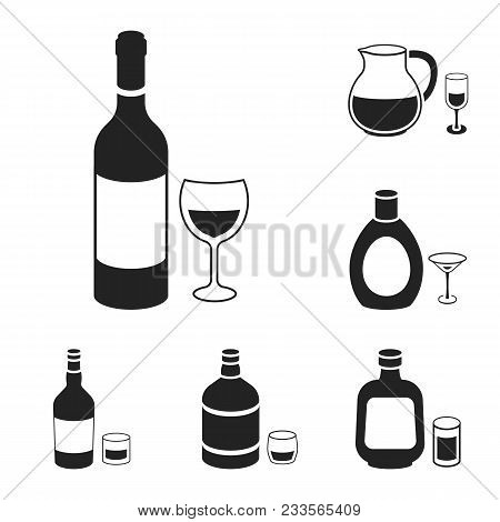 Types Of Alcohol Black Icons In Set Collection For Design. Alcohol In Bottles Vector Symbol Stock  I