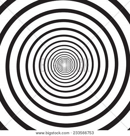 Abstract Monochrome Psychedelic Square Background With Circular Swirl, Helix Or Vortex. Backdrop Wit