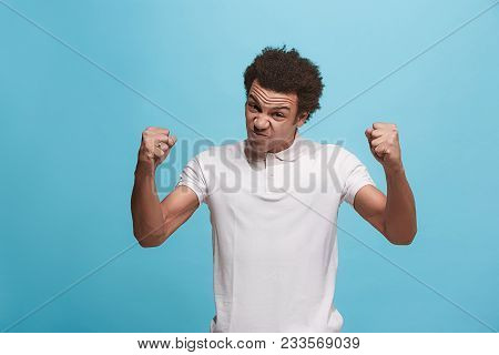 Screaming, Hate, Rage. Crying Emotional Angry Afro Man Screaming On Blue Studio Background. Emotiona