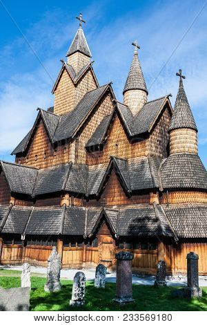 The Old Heddal Stave Church In Telemark, Norway .stave Church Is A Medieval Wooden Christian Church