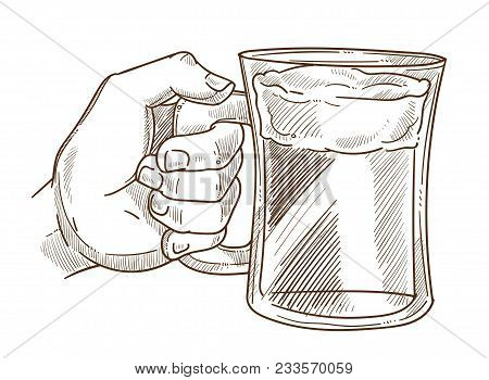 Hands Holding Glass Vector Sketch Icon. Isolated Man Hand Hold Beer Mug Or Pint Tankard Of Alcohol D